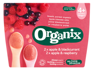 Organix 4 Month Variety Fruit Puree Apple & Raspberry/Apple & Blackcurrant 4x100g