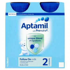 Aptamil Follow On Liquid Milk - 4 x 200ml Bottles