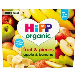 Hipp 7 Month Organic Fruit & Pieces Apple & Banana 4 x 100g