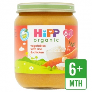 Hipp 6 Month Organic Vegetable & Rice With Chicken 125g Jar