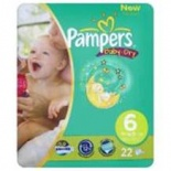 Pampers Baby Dry Carry Pack Size 6 Extra Large 19 per pack (16+ Kgs)