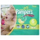 Pampers Baby Dry Economy Pack Size 6 Extra Large 33 per pack (16+ Kgs)