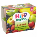 Hipp 4 Month Organic Just Fruit, Apple, Strawberry & Blueberry 4 x 100g