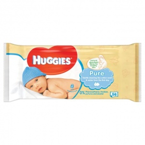 Huggies Pure Baby Wipes 56 per pack
