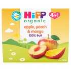 Hipp 4 Month Organic Just Fruit, Apple, Peach & Mango 4 x 100g