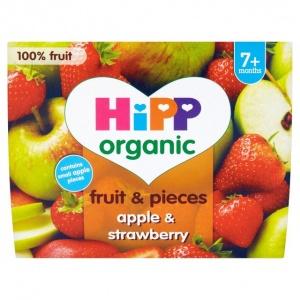 Hipp 7 Month Organic Fruit & Pieces Apple & Strawberry 4 x 100g