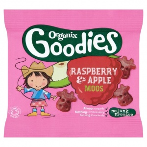 Organix 12 Month Goodies Raspberry & Apple Fruit Moos 12g x 4