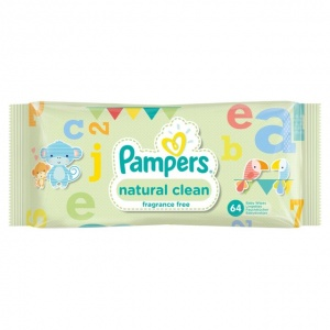 Pampers Natural Clean Unscented Baby Wipes 64 Pack